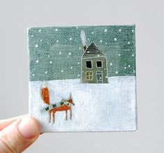 Oh Chalet's Christmas Eve mini painting on canvas