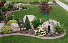River Rock Landscaping Ideas to Transform Your Landscape - front yard landscaping ideas with rocks Landscaping With Boulders, River Rock Landscaping, Front Yard Landscaping, Landscaping Melbourne, Landscape Plans, Landscape Design, Garden Design, Boulder Landscape, Flower Landscape