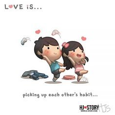 Funny & Heartwarming Illustrations About Love By A Husband Hj Story, Cute Love Stories, Love Story, Ah O Amor, Cute Love Cartoons, Couple Illustration, Couple Cartoon, Chibi Couple, Flirting Quotes