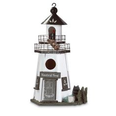 Lovebirds love this lighthouse! Two-tiered walkways and authentic accents perk up this Pennsylvania Dutch style haven. Nautical Nest Birdhouse by Custom Made. #myCustomMade
