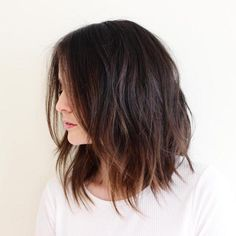 long messy brown bob with balayage **i like how the ends are whispy