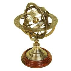Home Decorators Collection Wordly 11 in. H Globe Armillary Decorative Sculpture in Antique Brass-0811000230 at The Home Depot