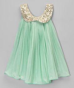 Mint & Gold Sequin Collar Dress - Toddler & Girls | zulily