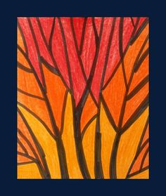 """Nice demonstration of the use of analogous colors to create harmony.  """"Analogous Color Tree Scapes"""""""