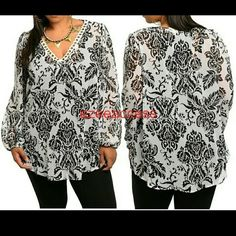 """NEW Plus size tunic top blouse sheer Long sleeves Semi sheer top. Brand New with tags. plus size tunic top black and white print. Long sleeves. semi Sheer fabric. Lightweight fabric. -Damask pattern print - Scalloped ring embellished V-neckline.  - Blouson style cuffs. - Hi Low Hemline. MEASUREMENTS Loose fit. Total Length = 30"""" Boutique  Tops Blouses"""