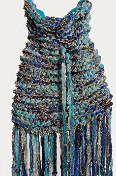 Exclusive Exquisite Turquoise Drawstring Hand Knitted One Of a Kind Boho Handbag -- Find out more at the image link. #Handmadehandbags