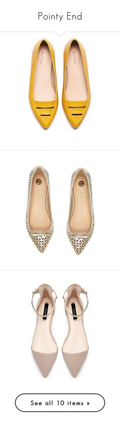"""Pointy End"" by mplusk ❤ liked on Polyvore featuring shoes, flats, pointy-toe flats, pointed leather flats, leather flats, leather shoes, yellow flat shoes, gold flats, ballerina shoes and flat pumps"