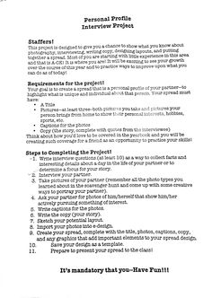 Personal Profile Project Assignment Sheet, Photo Class, Yearbook Ideas, Article Writing, Teaching English, Journalism, Carrie, Newspaper, Teaching Ideas