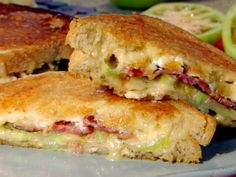 Grilled Brie and Goat Cheese with Bacon and Green Tomato