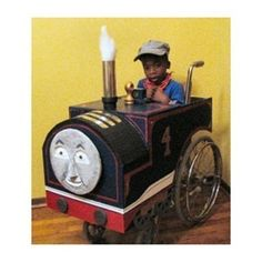 Thomas the Train Tank Engine & Friends  Halloween Costume for toddlers in wheel chairs. One of 12 great DIY costumes you can make at home.    We don't actually celebrate Halloween or have any children in wheelchairs, but I thought this was so awesome, that I had to repin it.  Check this pinner out for more.    http://pinterest.com/finecraftguild/halloween/