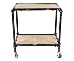 Carrellino doppio ripiano in legno e metallo nero/naturale, 51x56x31 cm