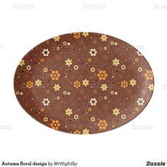 Autumn floral design porcelain serving platter