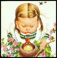 "Vintage 1966 ""Bird Watching"" Little Girl Book Page Art by Eloise Wilkin | eBay"