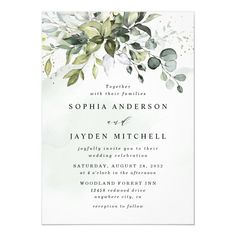 Dusty Blue Eucalyptus Greenery Succulent Wedding Invitation - tap/click to get yours right now! #Invitation #dusty #blue #wedding #floral #wedding