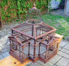 Beautiful Folk Art Wire Wood Antique Bird Cage by BastaVintage, $400.00