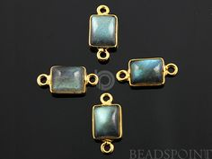 Natural Labradorite Faceted Bezel Emercut Connector by Beadspoint, $6.99