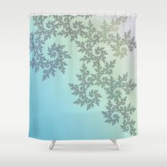 Curly frost patterns on a pastel background Shower Curtain