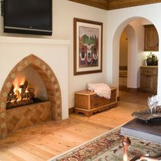 Bedroom Photos Santa Barbara Design, Pictures, Remodel, Decor and Ideas - page 2 Spanish Home Decor, Spanish Colonial Homes, Spanish Style Homes, Spanish House, Spanish Bedroom, Spanish Bungalow, Spanish Revival, Bedroom Fireplace, Fireplace Design