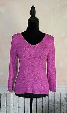 Eileen Fisher Purple Knit Fitted Pullover Sweater SZ Medium