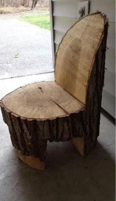 Chair made from a log