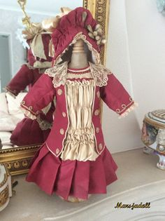 Antique Silk doll dress size 8