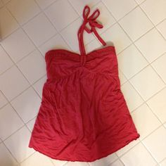 EASTER SALE! Guess halter top Cute coral colored halter with crochet trim around top and braided straps. Elastic on top in back. Only worn once or twice. Guess Tops Tank Tops