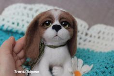 Needle felted Spaniel felted puppy dog  felting by FeltToysMiracle