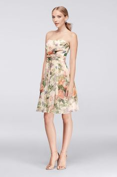 0c03ef6c23a6 Chiffon Short Strapless Printed Fit and Flare Bridesmaid Dress - Floral  Multi Print, 26 Flared