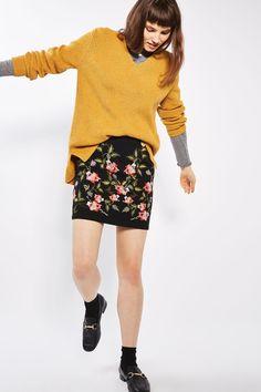 Black Ivy Flower Embroidered Skirt - Topshop
