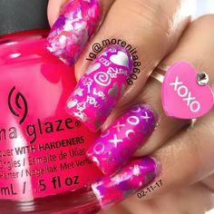 XOXO   #valentinenails #sanvalentin #pinknails #chinaglazed