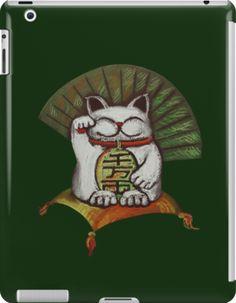 White Maneki neko with Japanese coin  by farawayart