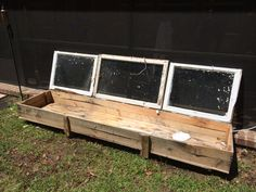 Old windows turned into a green house or a small potting / seed starting haven. Herbs. Greenhouse . Flowers, Outdoor. Gardening, planter on Etsy, $165.00