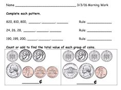 Morning Work with a focus on number patterns and counting coins. 2nd Grade Worksheets, 2nd Grade Math, Grade 2, Second Grade, Counting Coins, Counting Money, Number Patterns, Eureka Math, Math 2