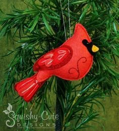 Felt Cardinal ... by Squishy-Cute Designs | Sewing Pattern - Looking for a sewing pattern for your next project? Look no further than Felt Cardinal Ornament Pattern from Squishy-Cute Designs! - via @Craftsy Embroidered Christmas Ornaments, Christmas Stocking, Felt Christmas Ornaments, Handmade Christmas, Noel Christmas, Christmas Date, Christmas Border, Hallmark Christmas, Coastal Christmas