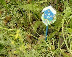 Dollhouse miniature fairy garden bitty blue birdhouse gift under 20 fairy garden decor plant stickers DIY garden fairy accessories glows after dark by rockartiste on etsy. Dog Dayz of summer sale ends soon!