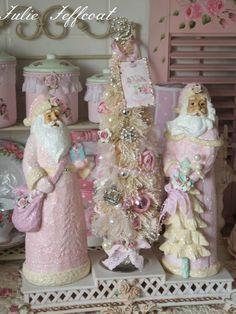 More of my Shabby Forever Pink Christmas - ceramic Santa's and bottle brush tree!