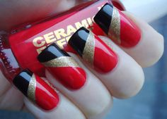 Red, gold and black diagonal tape mani using Layla Ceramic Effect Coral Bay, Kiko Liquid Gold and Kiko 275 Black.