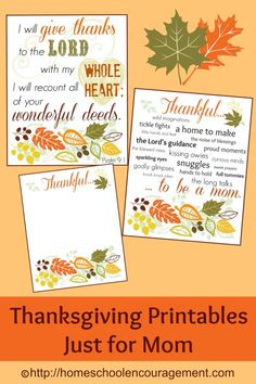 Thanksgiving Printables Just for Mom from HomeschoolEncouragement.com.