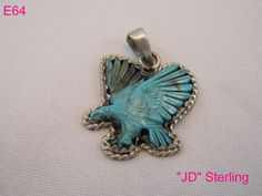 VINTAGE STERLING SILVER NATIVE AMERICAN TURQUOISE EAGLE PENDANT NAVAJO DELGARITO!!!!!  ON AUCTION THIS WEEK!!!!!