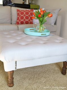 DIY instructions for well made ottoman.  Detailed instructions and great blog for home ideas.