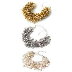 Handmade Golden/ Silver/ White Enchantment Freshwater Pearl Multi Strands Bracelet (Thailand)