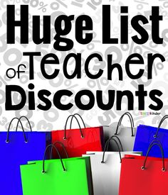 """Teacher discounts are just one of the many perks of being a teacher! As a frugal teacher, I have learned to ask over the years, """"Do you offer a teacher discount?"""" (I actually think my husband asks more than I do!) So I though it was time to put all. Teacher Boards, Teacher Tools, Teacher Hacks, Teacher Resources, Teacher Stuff, Teacher Survival, Teacher Freebies, Teacher Supplies, Classroom Supplies"""