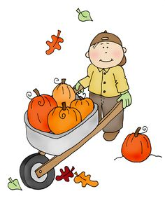 Free Dearie Dolls Digi Stamps: boy with pumpkin wheelbarrow