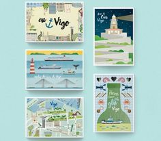 Te escribo desde Vigo con amor... y mucha clase.. Poster, Illustration, Holiday Gifts, Digital Prints, Light House, Mermaids, Impressionism, Stamps, Illustrations