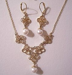 Pearl Filigree Pierced Earrings Necklace Gold Tone Vintage Avon Crystal Pendant Link Chain - $39 - http://PrettyJewelryThingsStore.com - #holidaygifts #pearlearringsnecklace #prettyjewelrythingsstore #prettyjewelrythings #pearlearrings #pearlnecklace #prettyjewelrythingsetsy #avonpearljewelry