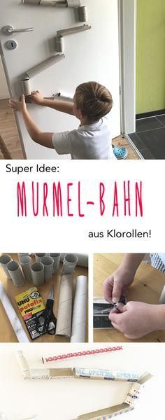 Murmelbahn / Kugelbahn aus Klorollen! Eine coole Bastelidee, die einfach ist und (fast) nichts kostet! :-) Wie es geht, lest ihr hier: http://www.moms-blog.de/klorollen-murmelbahn-basteln-kinder/ #basteln #kinder #klorollen #klopapier #murmelbahn #kugelbahn