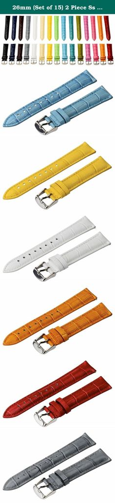 26mm (Set of 15) 2 Piece Ss Leather Classic Croco Grain Interchangeable Replacement Watch Band Strap. Want to change the look of your watch in a matter of seconds? For sale is our Brand New 26mm (Black, Brown, Red, Blue, Grey, Orange, White) Classic Croco Grain Leather Watch Band. Our Name brand Straps fit any watch that requires a 26mm watch pin. Our bands are about 8 inches long including the Buckle. We do add an extra two holes to accommodate for every size wrists! Each watch band…