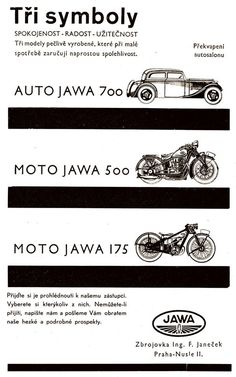 Moto Jawa, Car Posters, Classic Bikes, Brochures, Old Cars, Chevrolet Logo, Motorcycles, Advertising, Vehicles