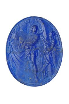 Blue glass cameo. Part of the Cheapside Hoard. Production date: 16c, 17c ID no: A14278 Status: Cheapside Hoard exhibit, Oct2013-Apr2014