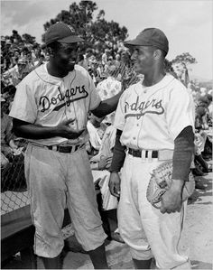 Jackie Robinson and Roy Campanella
